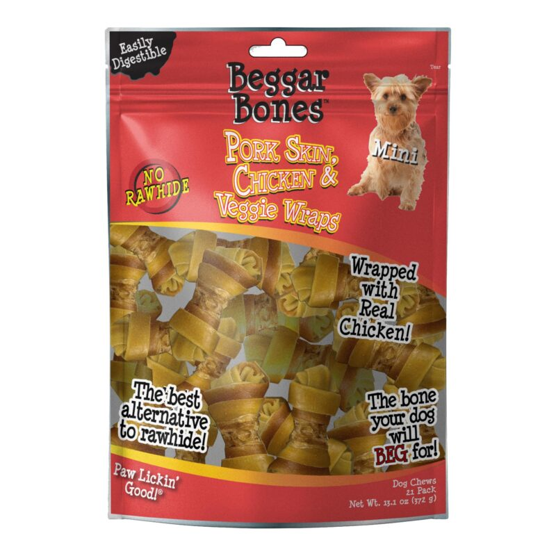 Beggar Bone Pork Skin, Chicken & Veggie Wraps Value Bag Mini (21 pk)