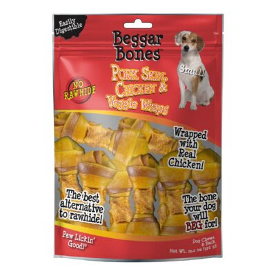 Beggar Bone Pork Skin, Chicken & Veggie Wraps Value Bag Small (8 pk)