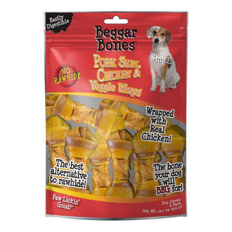 Beggar Bone Pork Skin, Chicken & Veggie Wraps Value Bag Small (8 pk)