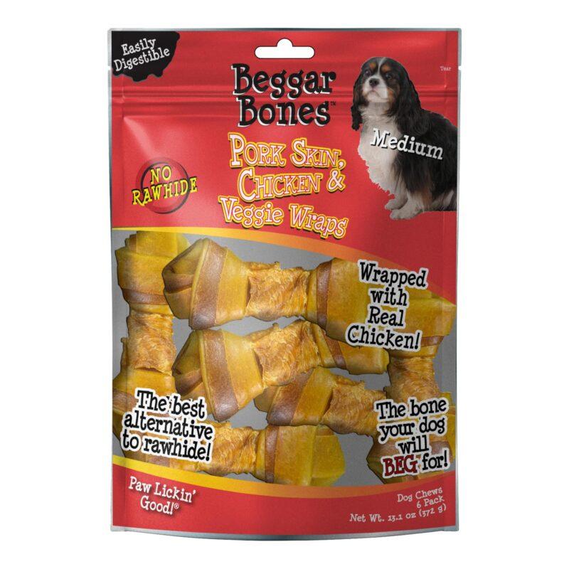 Beggar Bone Pork Skin, Chicken & Veggie Wraps Value Bag Medium (6 pk)